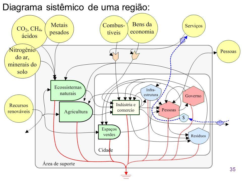 Diagrama sistêmico de uma região: