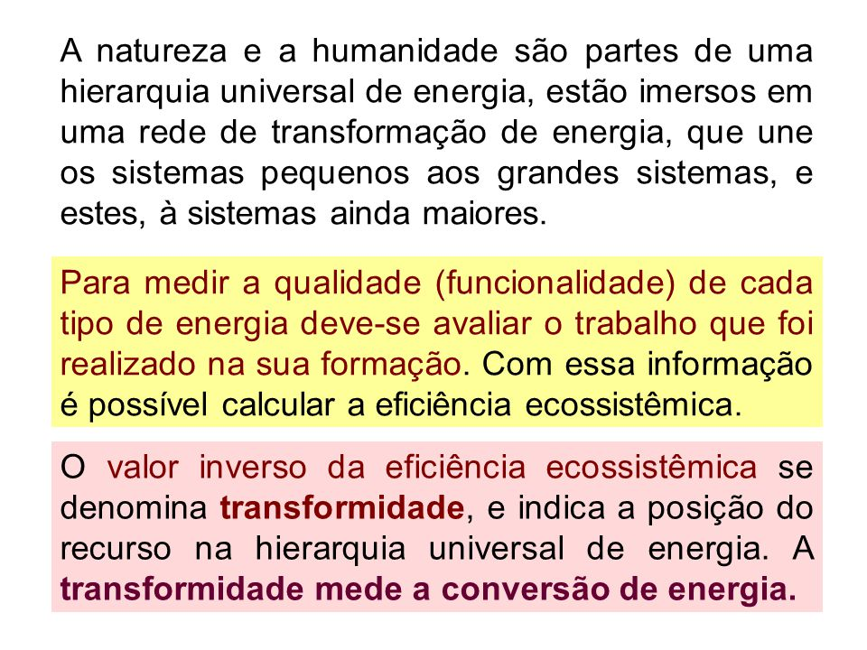 A natureza e a humanidade são partes de uma hierarquia universal de energia, estão imersos em uma rede de transformação de energia, que une os sistemas pequenos aos grandes sistemas, e estes, à sistemas ainda maiores.