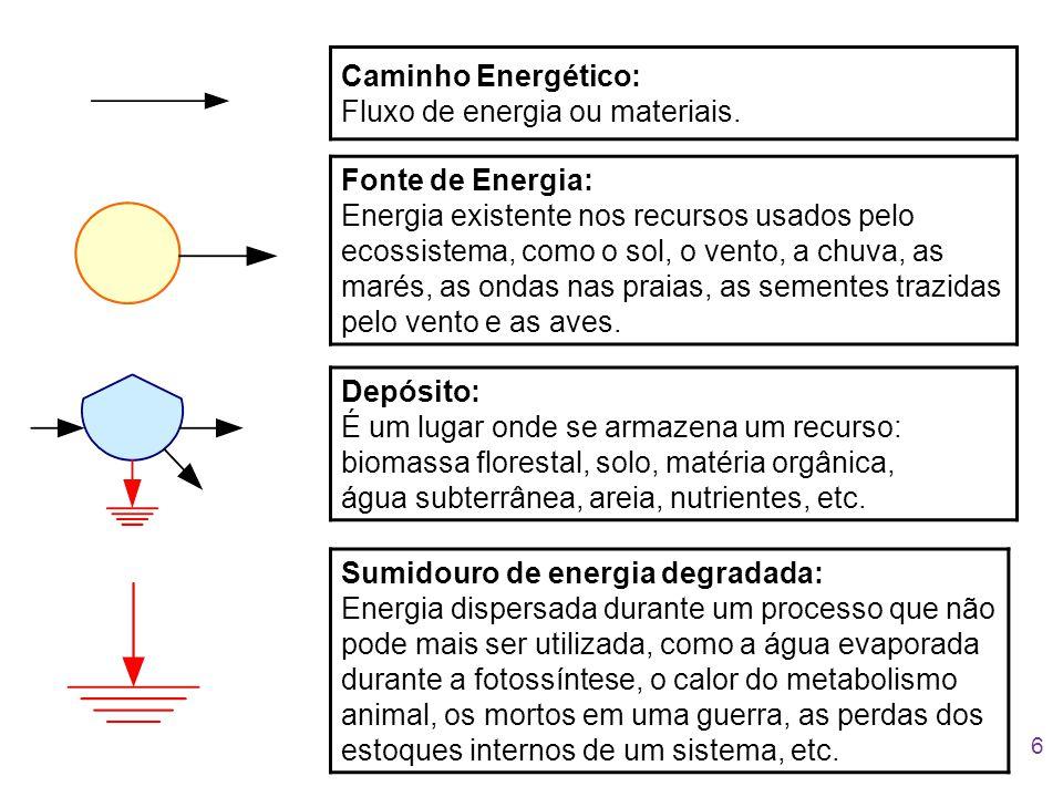 Caminho Energético: Fluxo de energia ou materiais.
