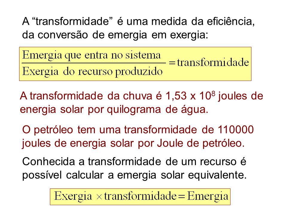 A transformidade é uma medida da eficiência, da conversão de emergia em exergia:
