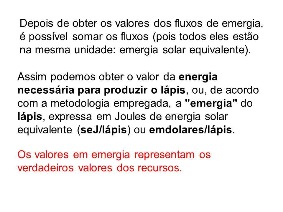 Os valores em emergia representam os verdadeiros valores dos recursos.