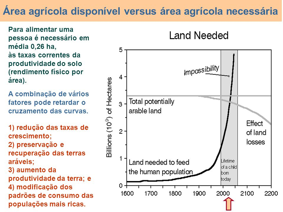 Área agrícola disponível versus área agrícola necessária