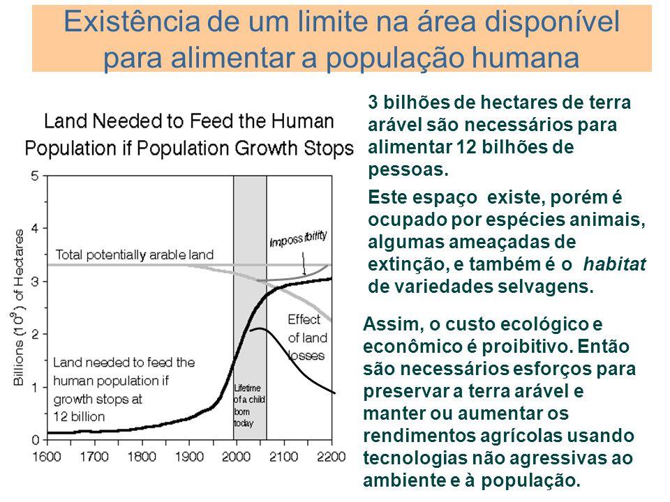 Existência de um limite na área disponível para alimentar a população humana