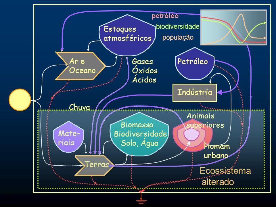 alterado Ecossistema Estoques atmosféricos Petróleo Ar e Oceano Gases