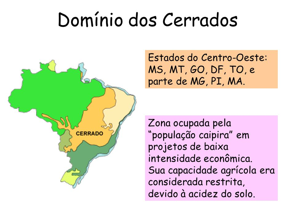 Domínio dos Cerrados Estados do Centro-Oeste: MS, MT, GO, DF, TO, e parte de MG, PI, MA.