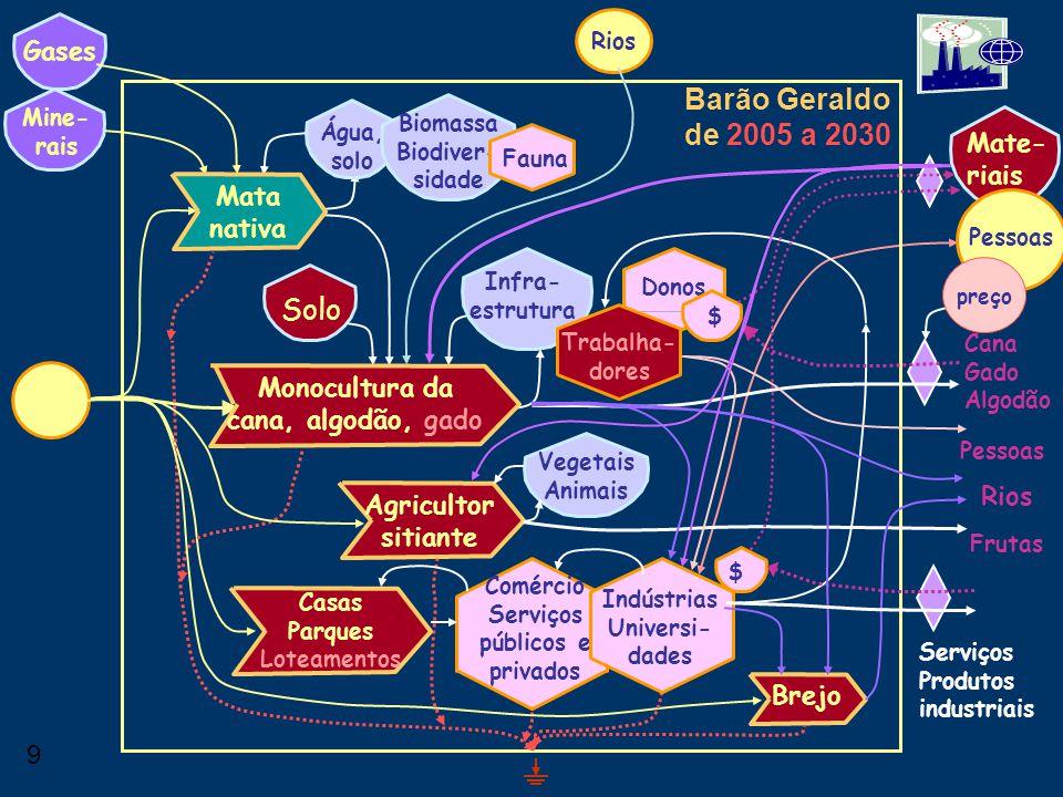 Barão Geraldo de 2005 a 2030 Solo Gases Mate-riais Mata nativa