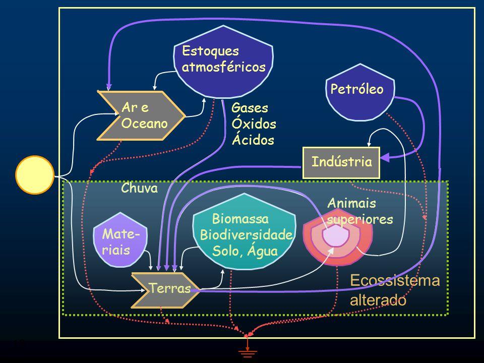Ecossistema alterado Estoques atmosféricos Petróleo Ar e Oceano Gases