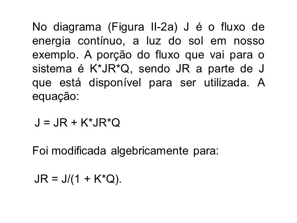 No diagrama (Figura II-2a) J é o fluxo de energia contínuo, a luz do sol em nosso exemplo. A porção do fluxo que vai para o sistema é K*JR*Q, sendo JR a parte de J que está disponível para ser utilizada. A equação: