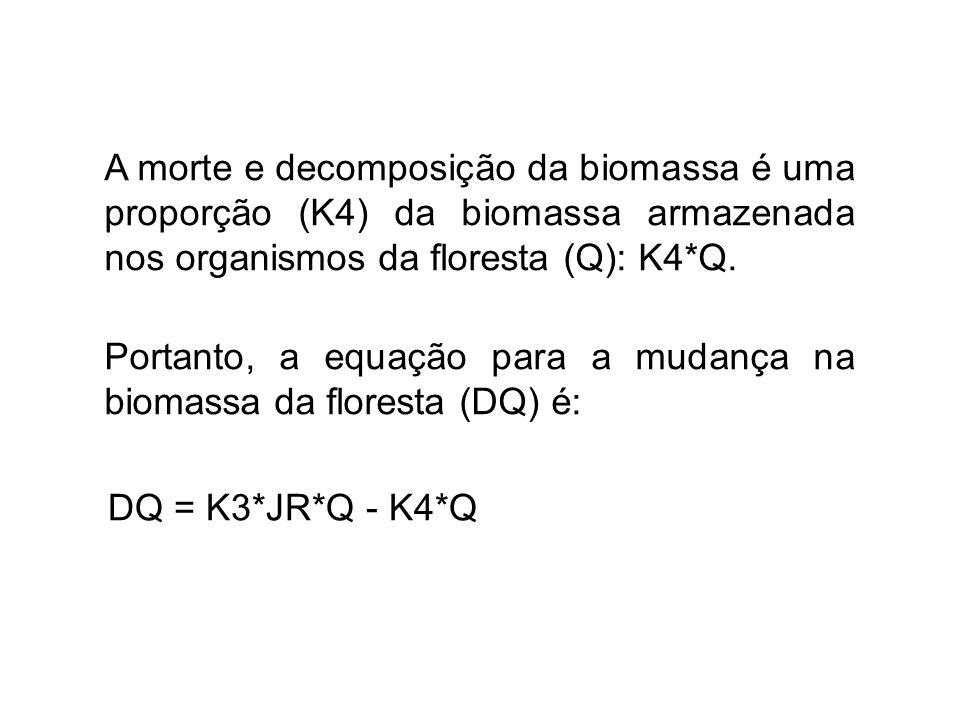 A morte e decomposição da biomassa é uma proporção (K4) da biomassa armazenada nos organismos da floresta (Q): K4*Q.