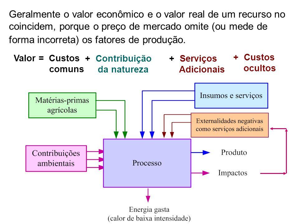 Geralmente o valor econômico e o valor real de um recurso no coincidem, porque o preço de mercado omite (ou mede de forma incorreta) os fatores de produção.