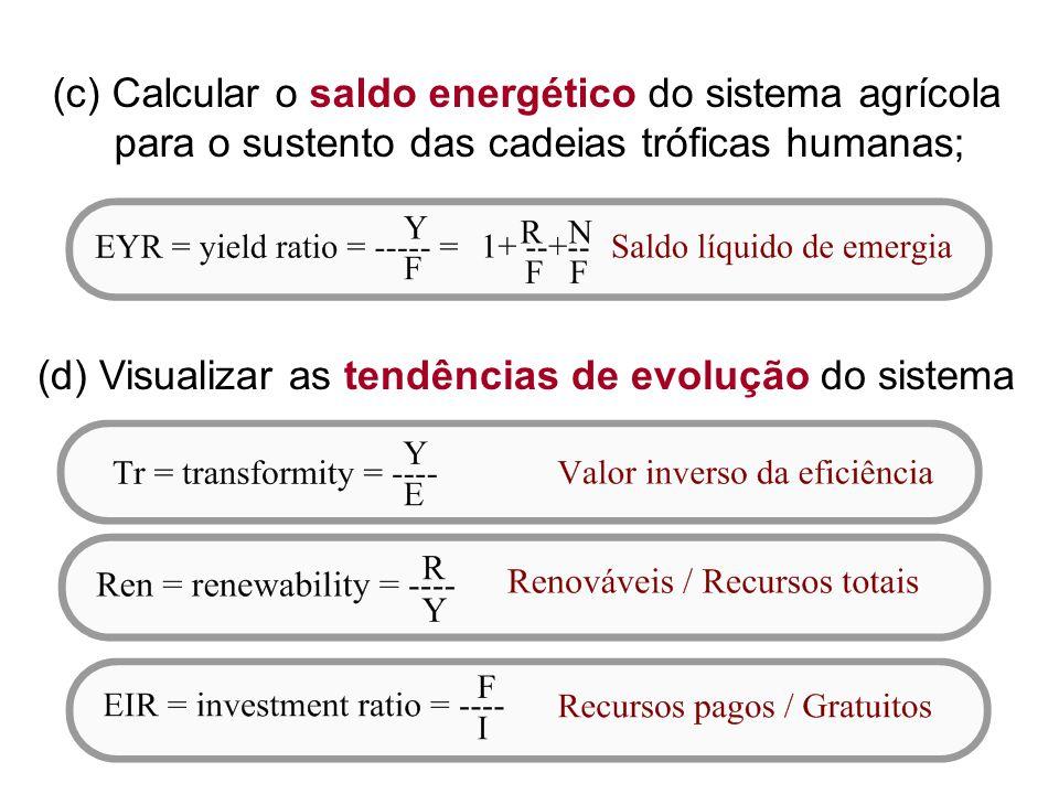 (c) Calcular o saldo energético do sistema agrícola para o sustento das cadeias tróficas humanas;