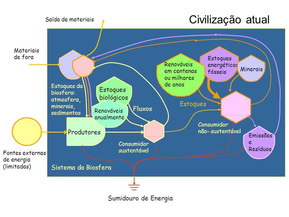 Civilização atual Estoques biológicos Estoques Fluxos Produtores