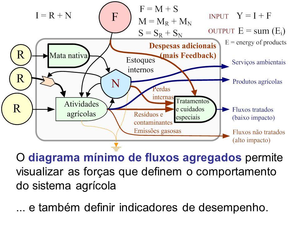 O diagrama mínimo de fluxos agregados permite visualizar as forças que definem o comportamento do sistema agrícola