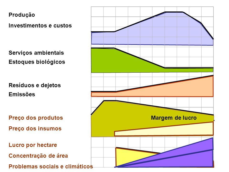 Produção Investimentos e custos. Serviços ambientais. Estoques biológicos. Resíduos e dejetos. Emissões.