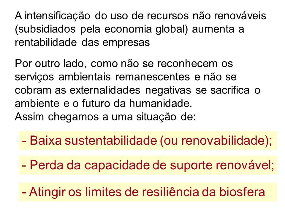 - Baixa sustentabilidade (ou renovabilidade);