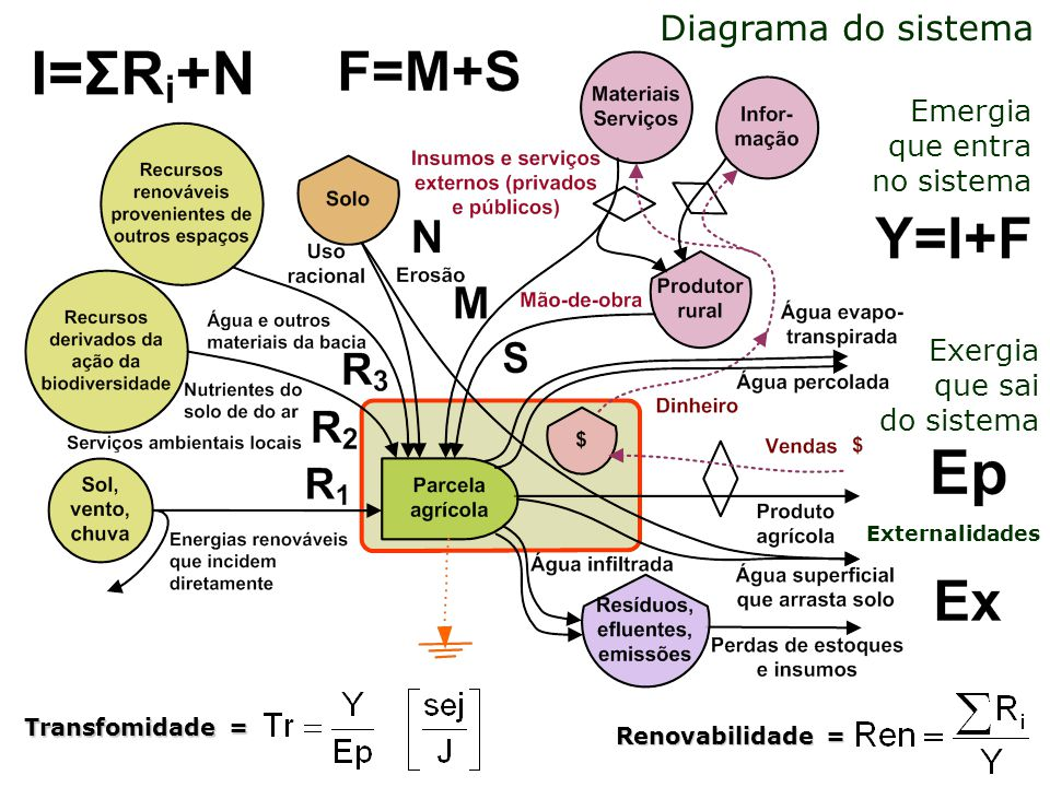 Diagrama do sistema Emergia que entra no sistema