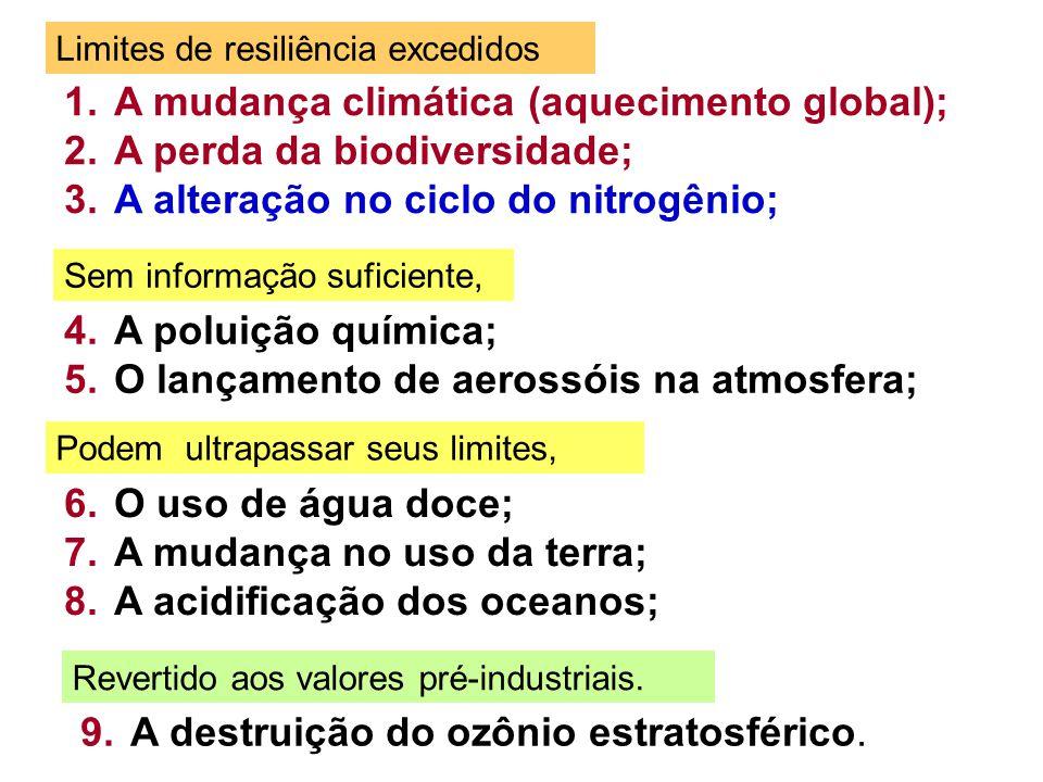 A mudança climática (aquecimento global); A perda da biodiversidade;