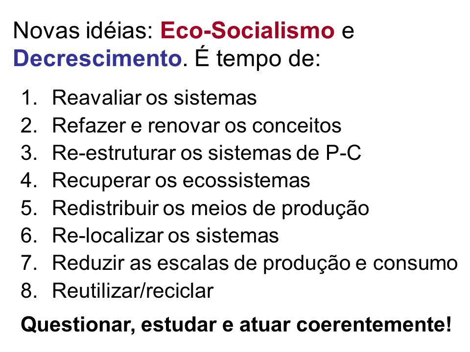 Novas idéias: Eco-Socialismo e Decrescimento. É tempo de: