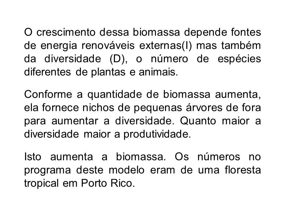 O crescimento dessa biomassa depende fontes de energia renováveis externas(I) mas também da diversidade (D), o número de espécies diferentes de plantas e animais.