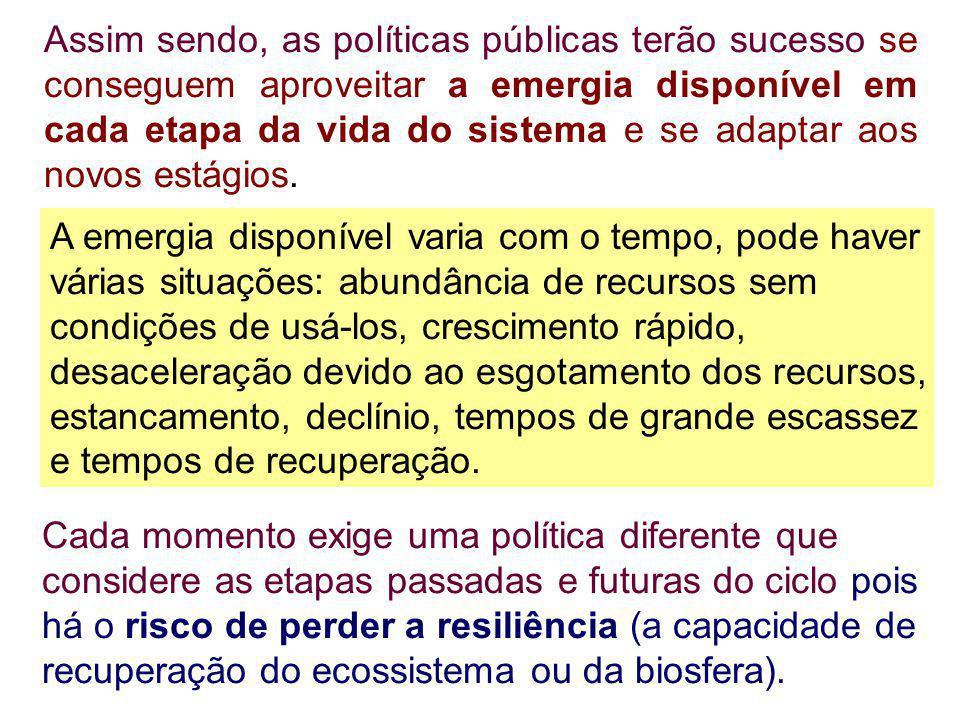 Assim sendo, as políticas públicas terão sucesso se conseguem aproveitar a emergia disponível em cada etapa da vida do sistema e se adaptar aos novos estágios.