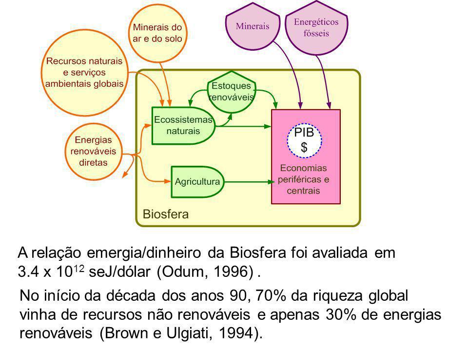 A relação emergia/dinheiro da Biosfera foi avaliada em