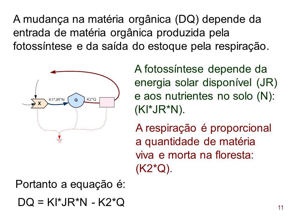 A mudança na matéria orgânica (DQ) depende da entrada de matéria orgânica produzida pela fotossíntese e da saída do estoque pela respiração.
