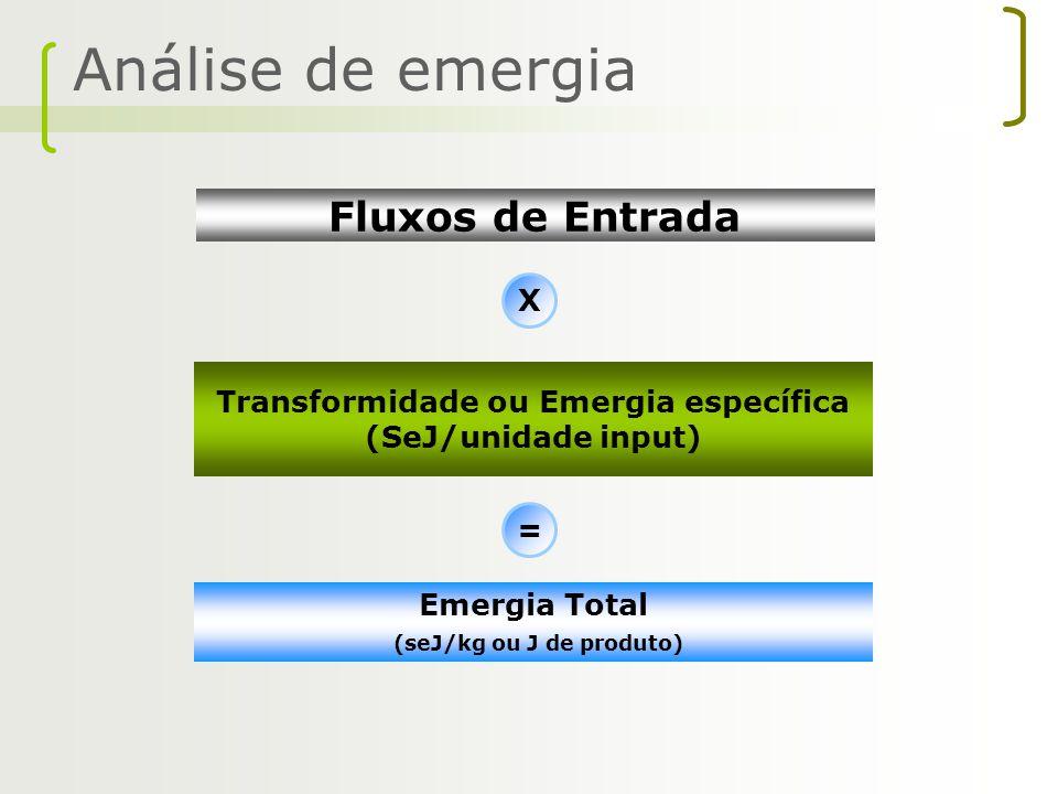 Transformidade ou Emergia específica (seJ/kg ou J de produto)