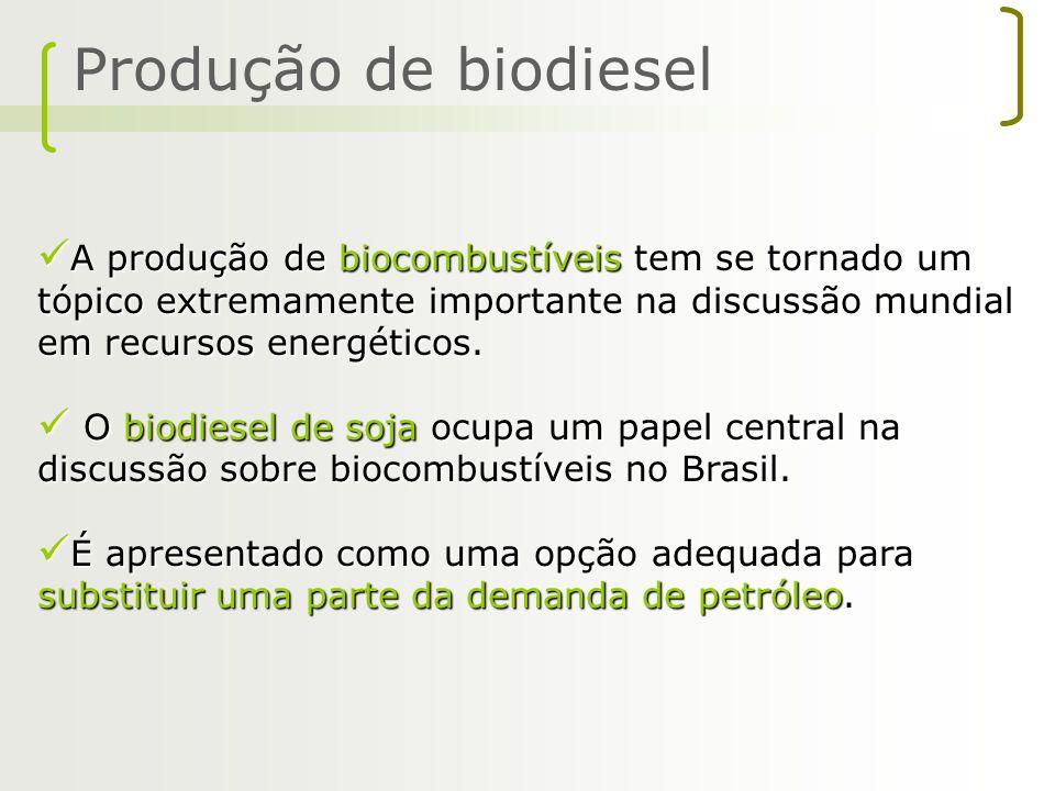 Produção de biodiesel A produção de biocombustíveis tem se tornado um tópico extremamente importante na discussão mundial em recursos energéticos.