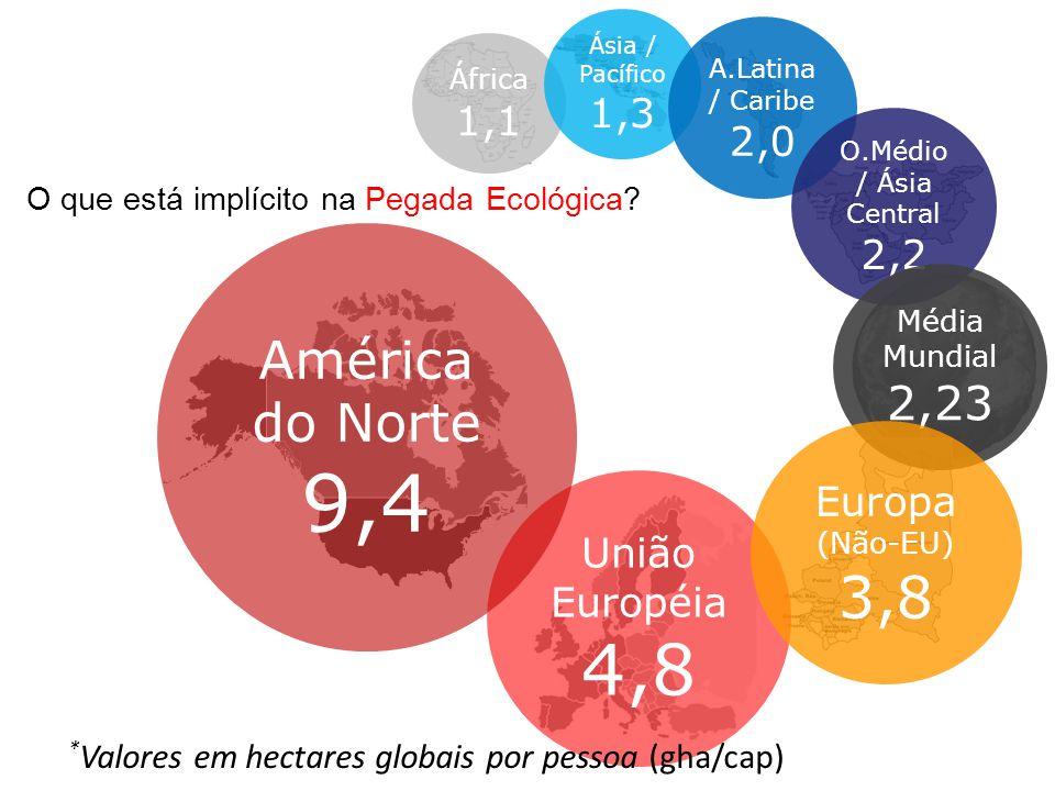 9,4 4,8 3,8 América do Norte 2,23 1,3 1,1 2,0 2,2 Europa (Não-EU)