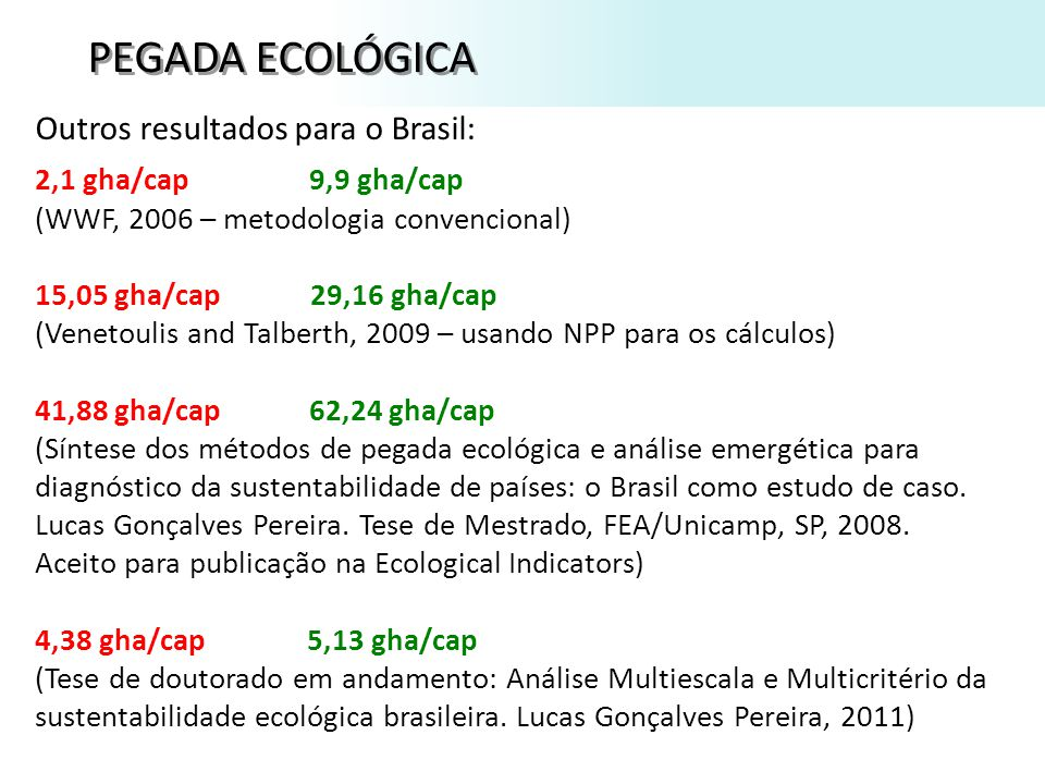 PEGADA ECOLÓGICA Outros resultados para o Brasil: