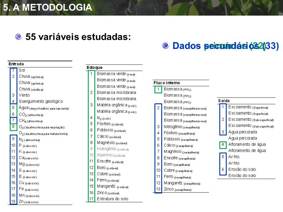 5. A METODOLOGIA 55 variáveis estudadas: Dados primários (22) Dados secundários (33)