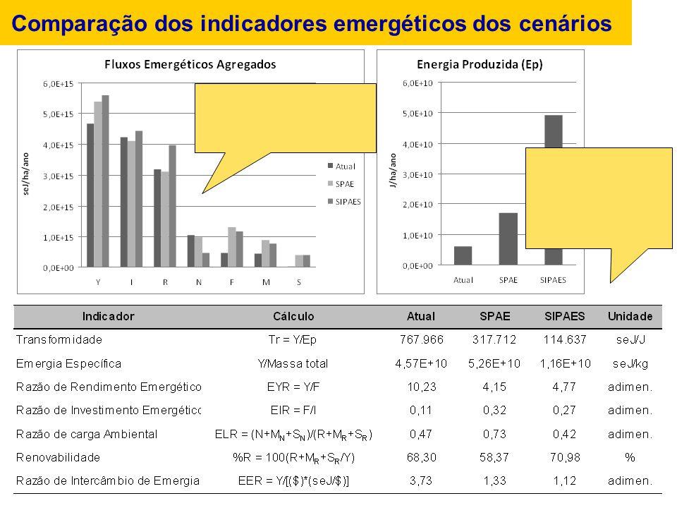 Comparação dos indicadores emergéticos dos cenários
