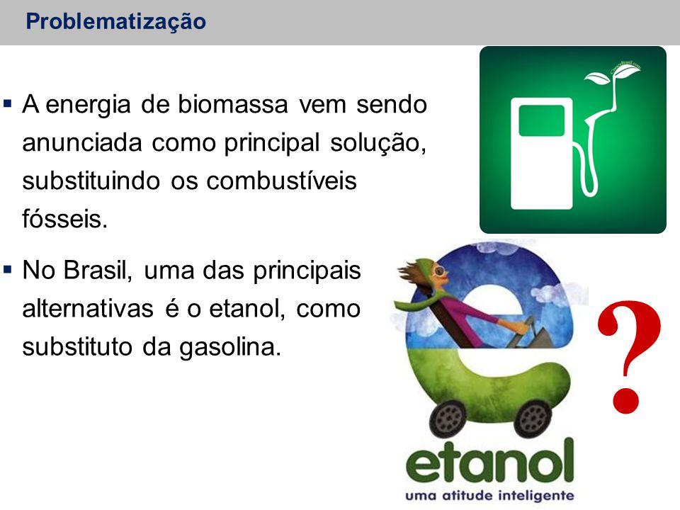 Problematização A energia de biomassa vem sendo anunciada como principal solução, substituindo os combustíveis fósseis.