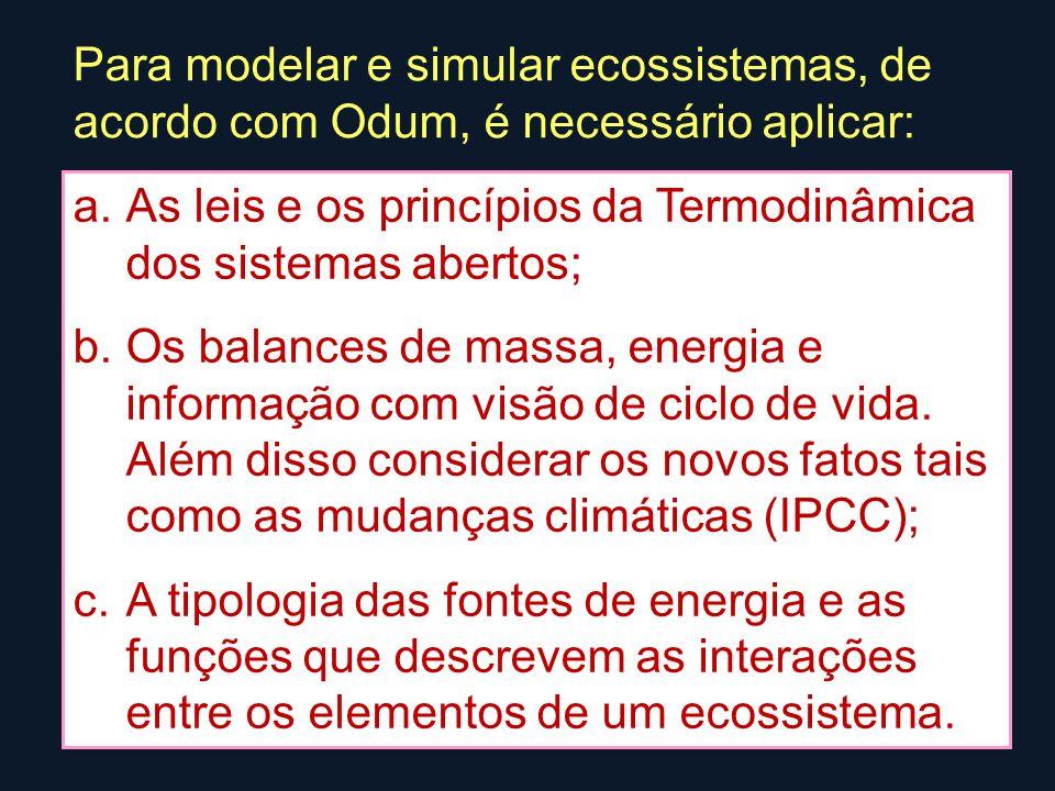 Para modelar e simular ecossistemas, de acordo com Odum, é necessário aplicar: