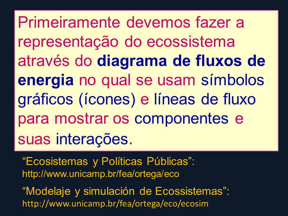 Primeiramente devemos fazer a representação do ecossistema através do diagrama de fluxos de energia no qual se usam símbolos gráficos (ícones) e líneas de fluxo para mostrar os componentes e suas interações.