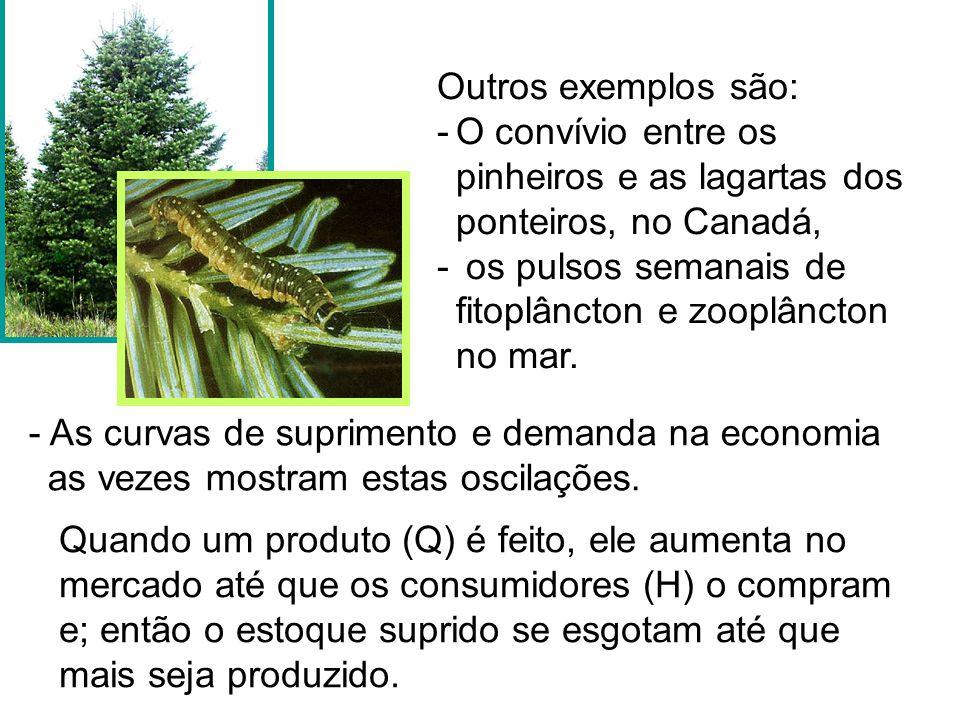 Outros exemplos são: O convívio entre os pinheiros e as lagartas dos ponteiros, no Canadá, os pulsos semanais de fitoplâncton e zooplâncton no mar.