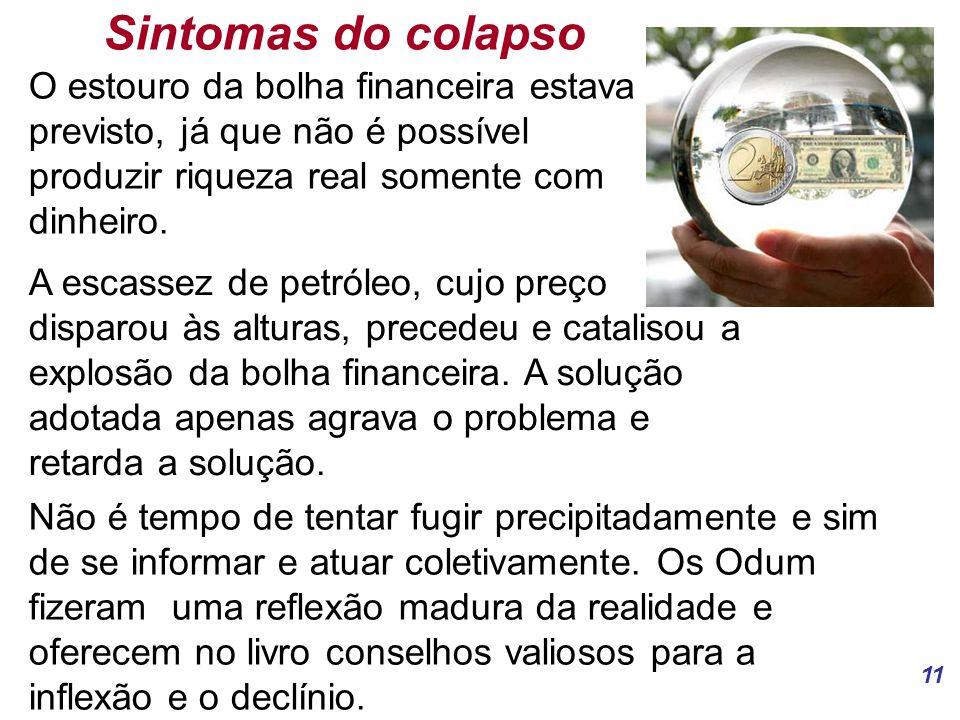 Sintomas do colapso O estouro da bolha financeira estava previsto, já que não é possível produzir riqueza real somente com dinheiro.