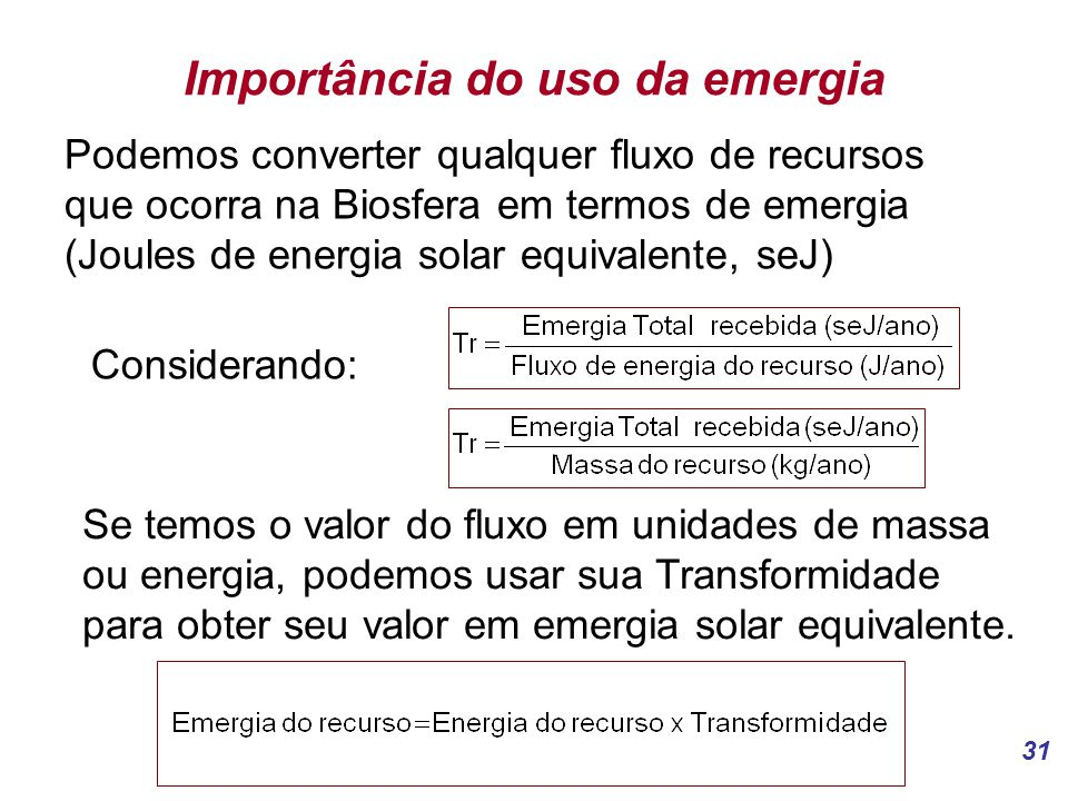 Importância do uso da emergia