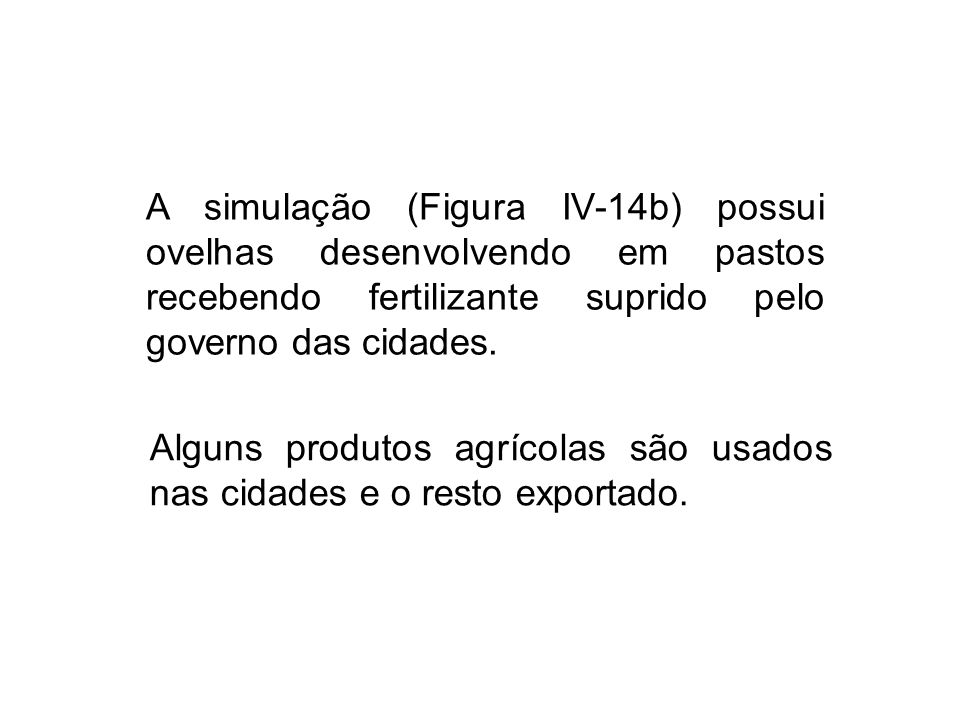 A simulação (Figura IV-14b) possui ovelhas desenvolvendo em pastos recebendo fertilizante suprido pelo governo das cidades.