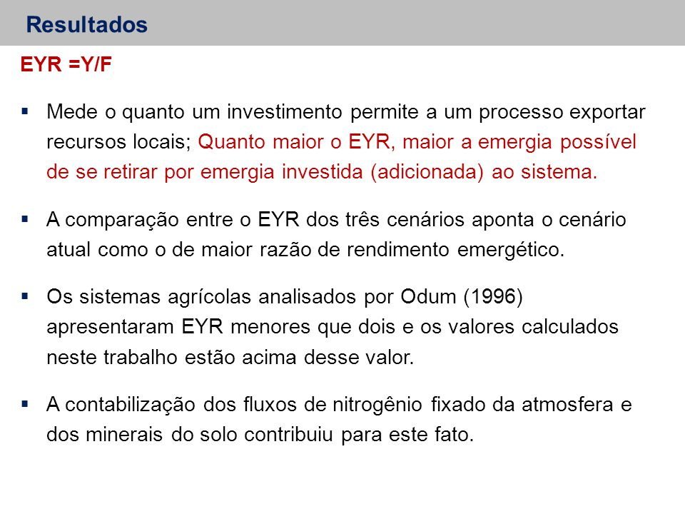 Resultados EYR =Y/F.