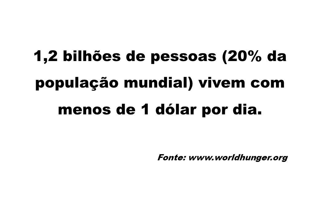 1,2 bilhões de pessoas (20% da população mundial) vivem com menos de 1 dólar por dia.
