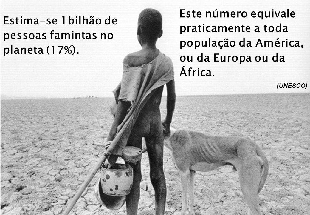 Estima-se 1bilhão de pessoas famintas no planeta (17%).