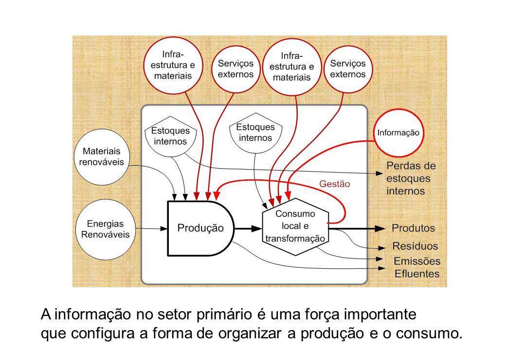 A informação no setor primário é uma força importante que configura a forma de organizar a produção e o consumo.