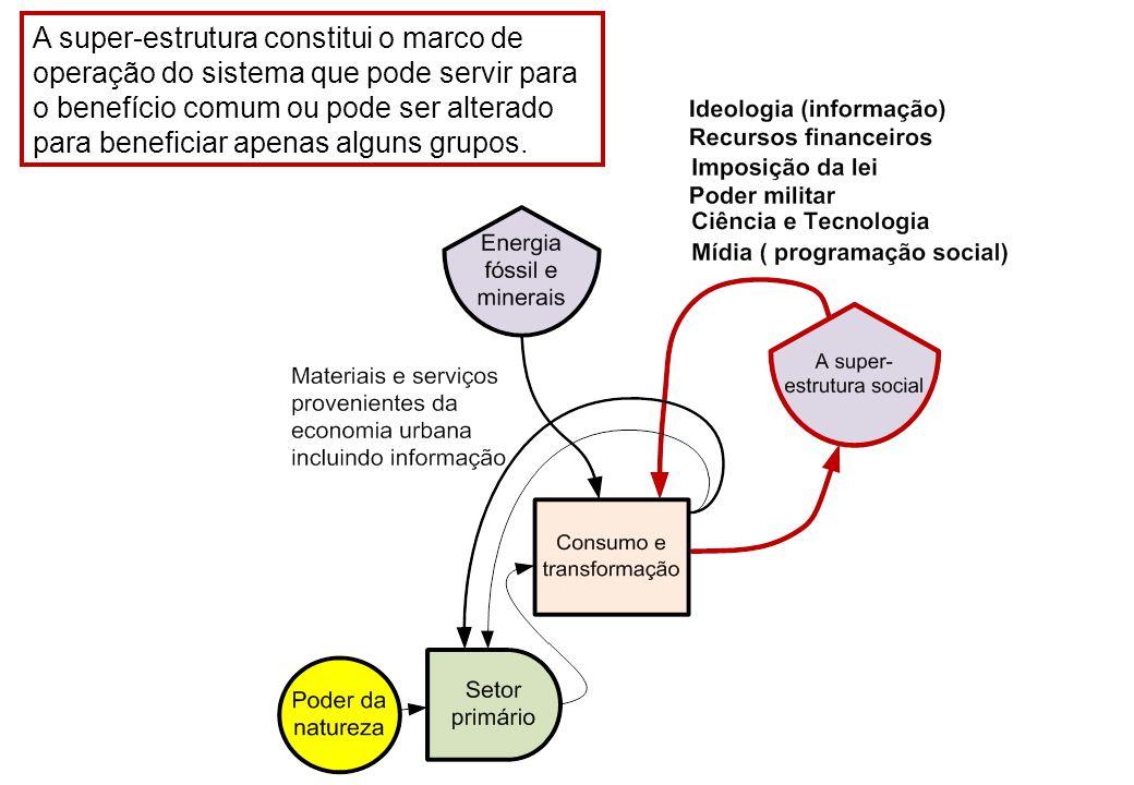A super-estrutura constitui o marco de operação do sistema que pode servir para o benefício comum ou pode ser alterado para beneficiar apenas alguns grupos.