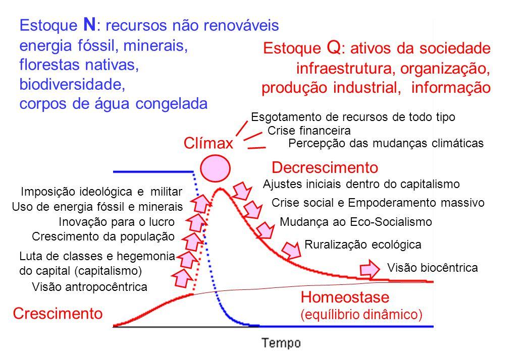 Estoque N: recursos não renováveis energia fóssil, minerais,