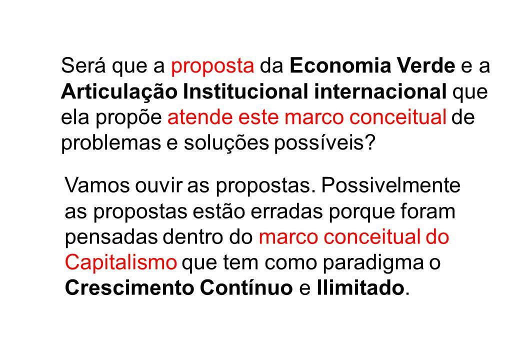 Será que a proposta da Economia Verde e a Articulação Institucional internacional que ela propõe atende este marco conceitual de problemas e soluções possíveis