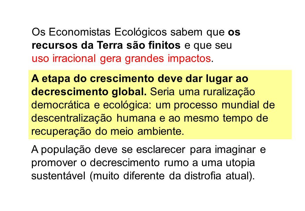 Os Economistas Ecológicos sabem que os recursos da Terra são finitos e que seu uso irracional gera grandes impactos.