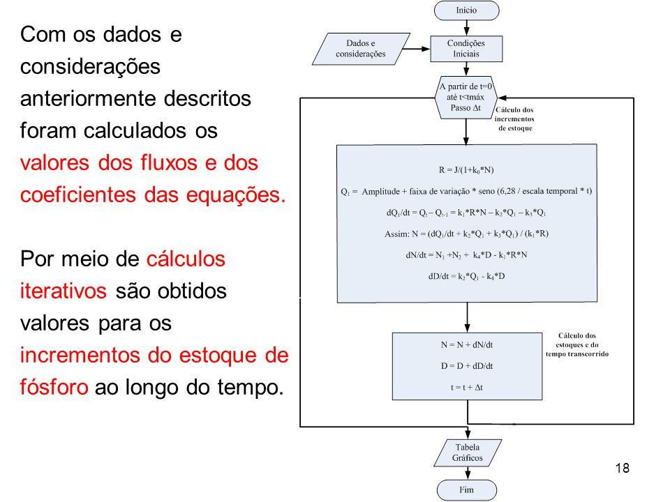 Com os dados e considerações anteriormente descritos foram calculados os valores dos fluxos e dos coeficientes das equações.