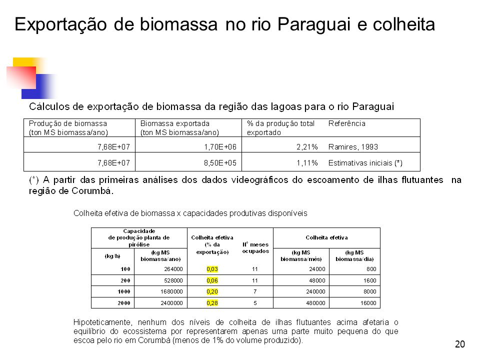 Exportação de biomassa no rio Paraguai e colheita