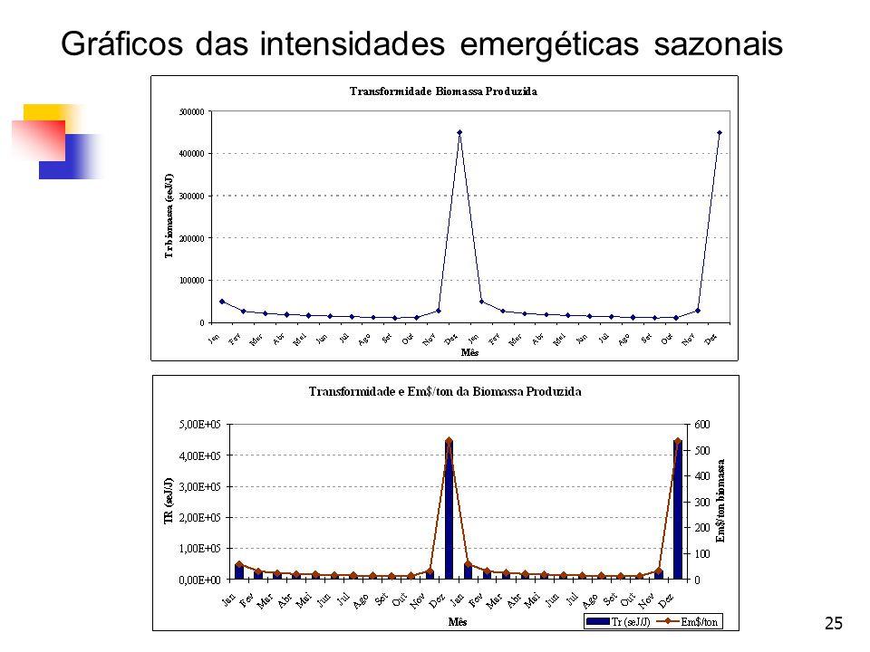 Gráficos das intensidades emergéticas sazonais